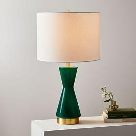 Metalized Glass USB Table Lamp, Green (68 cm)