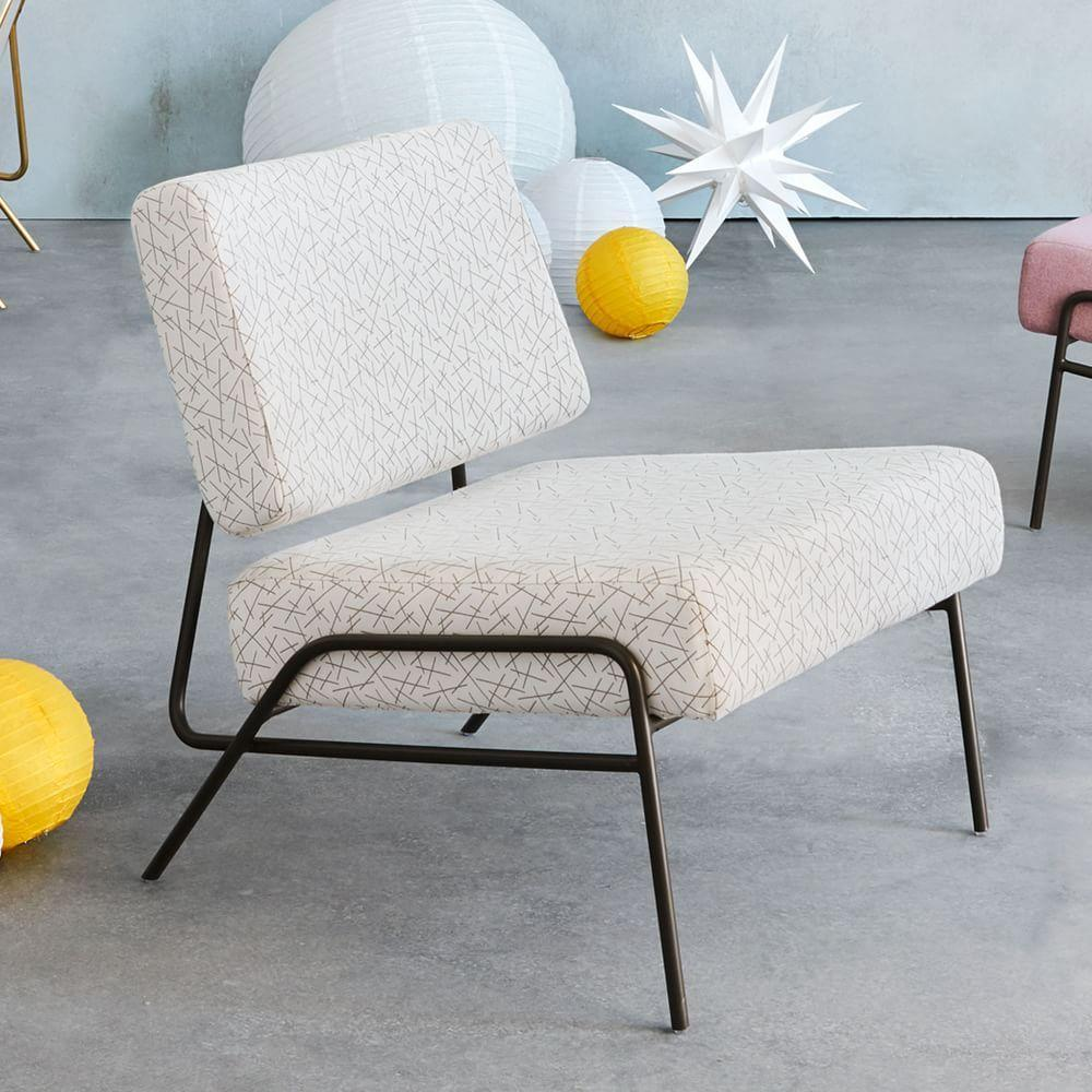 Wire frame slipper chair line toss
