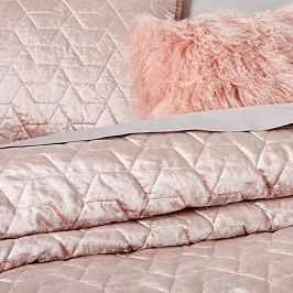 Lustre Velvet Deco Coverlet + Pillowcases - Dusty Blush