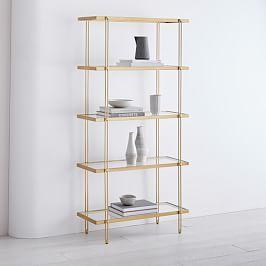 Fulton Bookshelf - Antique Brass