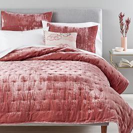 Lush Velvet Tack Stitch Coverlet + Pillowcases - Pink Grapefruit