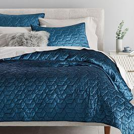 Lustre Velvet Deco Coverlet + Pillowcases - Regal Blue