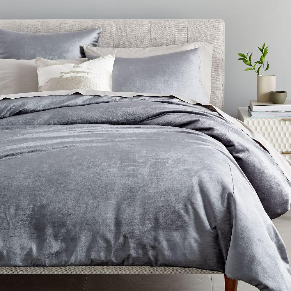 Washed Cotton Lustre Quilt Cover Pillowcases Pewter