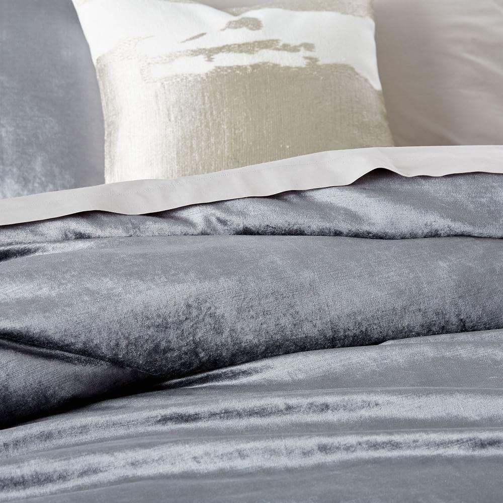 Washed Cotton Lustre Quilt Cover + Pillowcases - Pewter