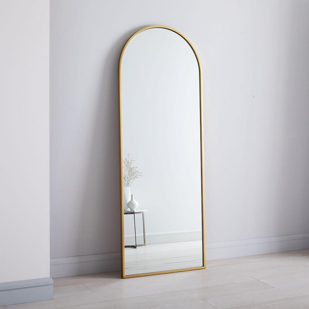 metal framed arched floor mirror h3769