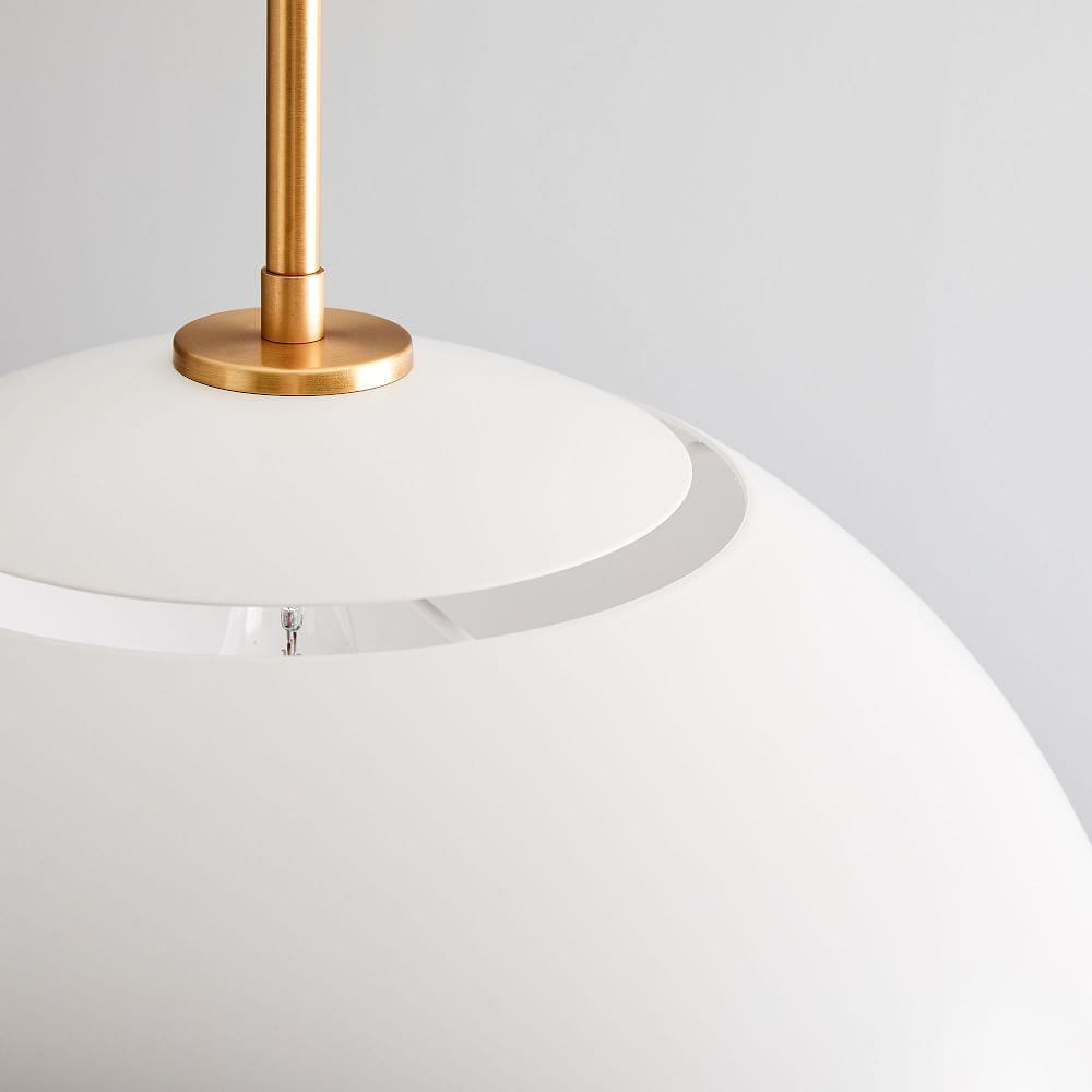 Sculptural Metal Pendant - Large (White/Brass)