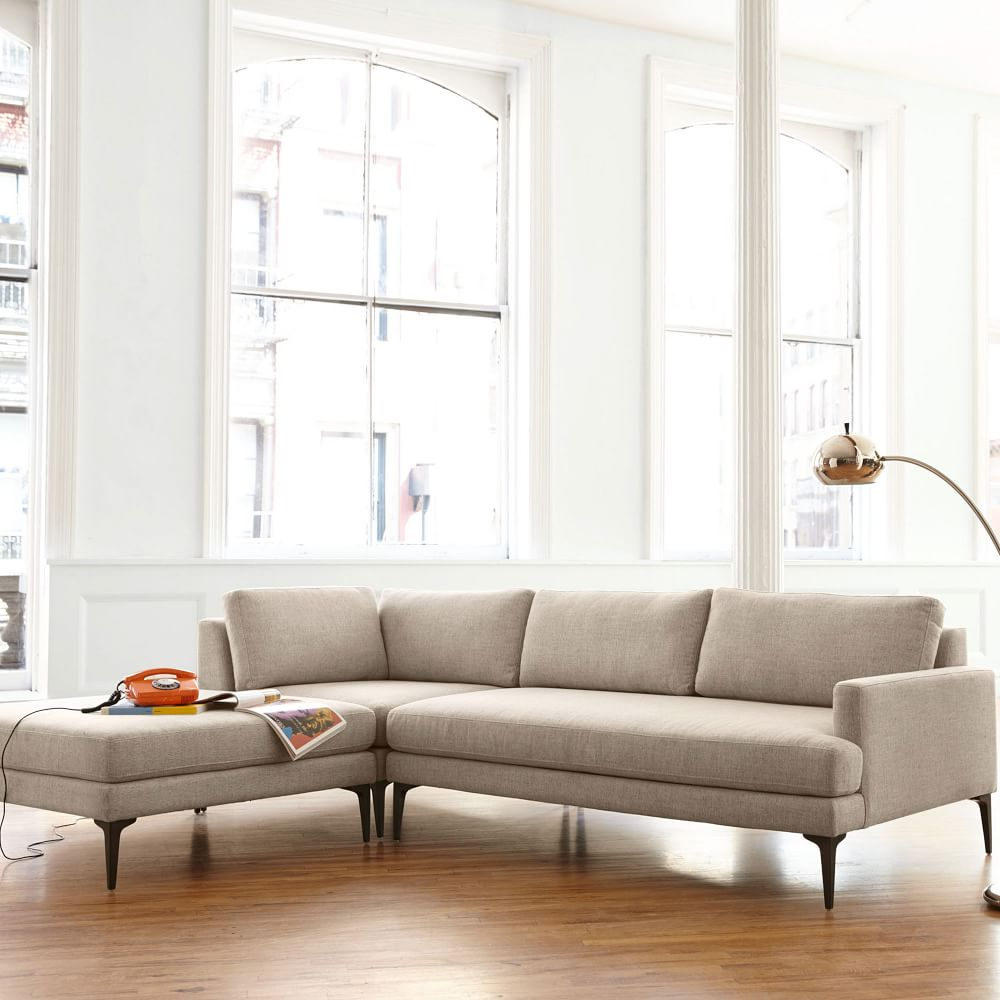 Andes 3 Piece Chaise Sectional Stone Twill West Elm