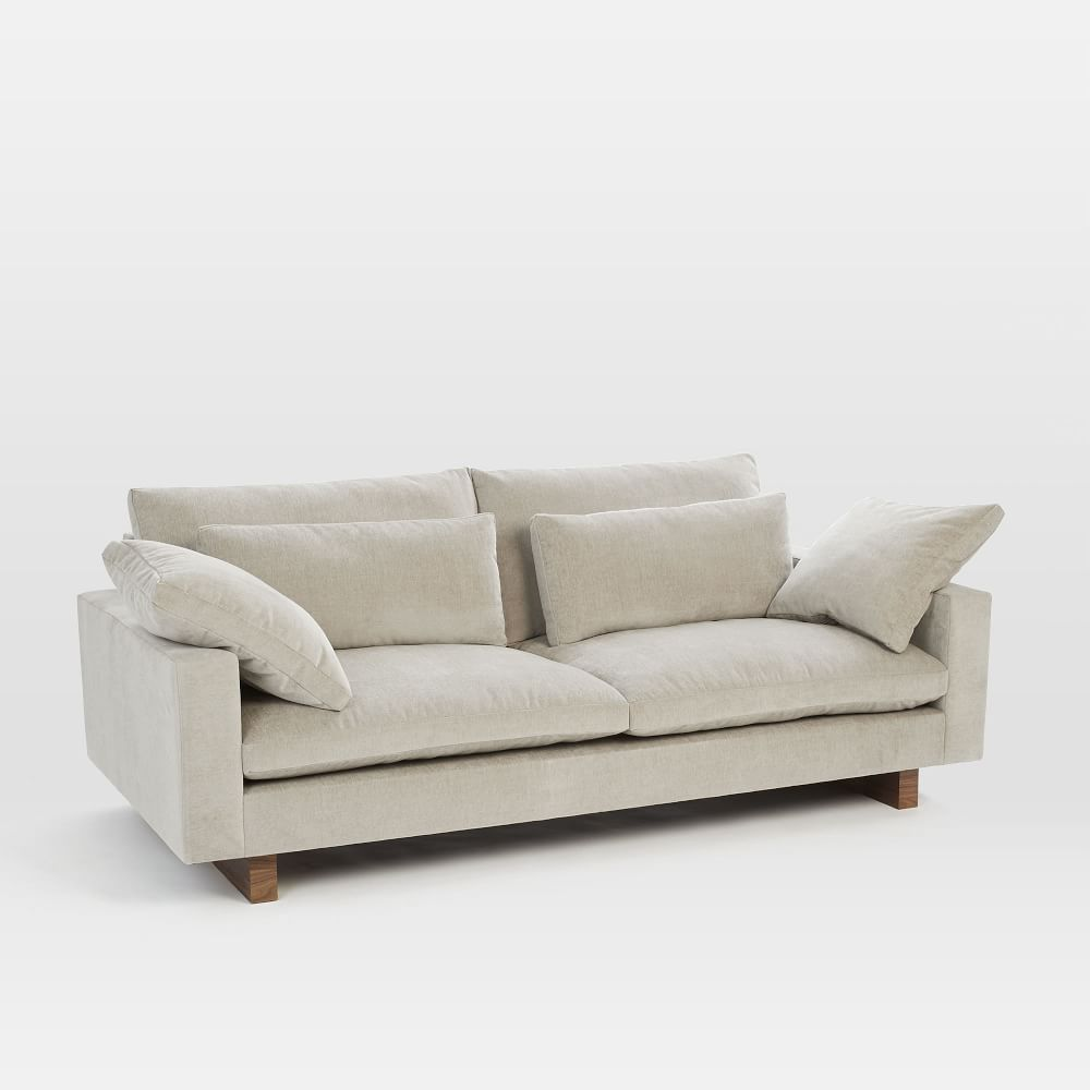 Harmony down filled sofa 208 cm light taupe distressed velvet