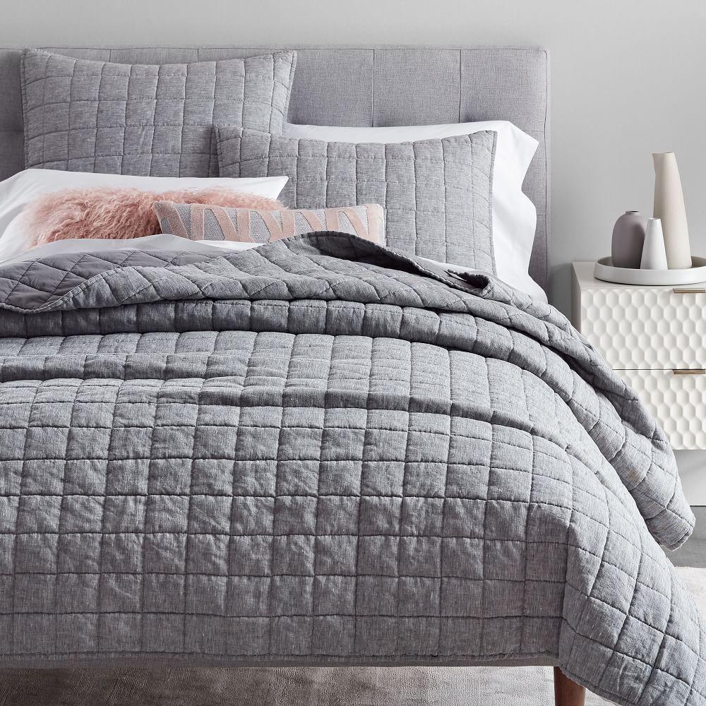 Belgian Linen Melange Coverlet + Pillowcases