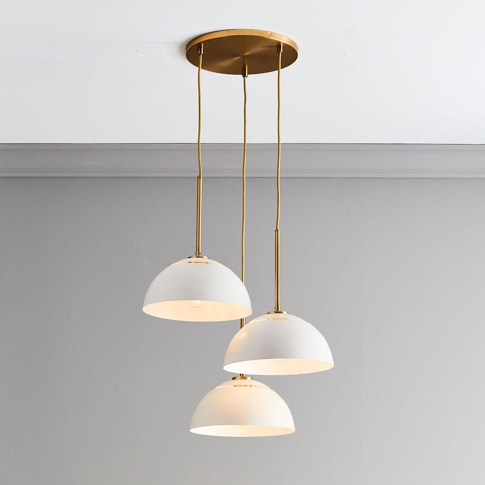 Sculptural Metal 3-Light Chandelier - White