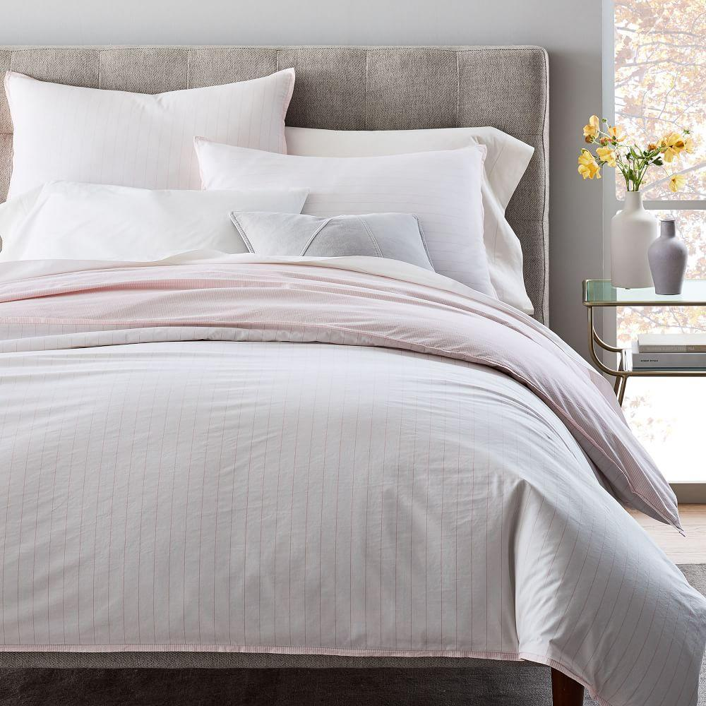 Organic Washed Cotton Stripe Quilt Cover + Pillowcases - Vintage Rose