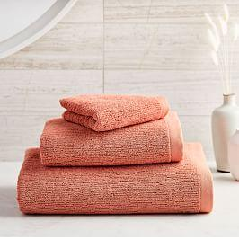 Organic Textured Towels - Orange Clay