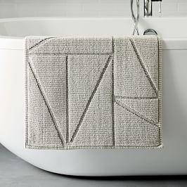 Organic Triangle Sculpted Bath Mat - Grey Sky