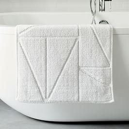 Organic Triangle Sculpted Bath Mat - White