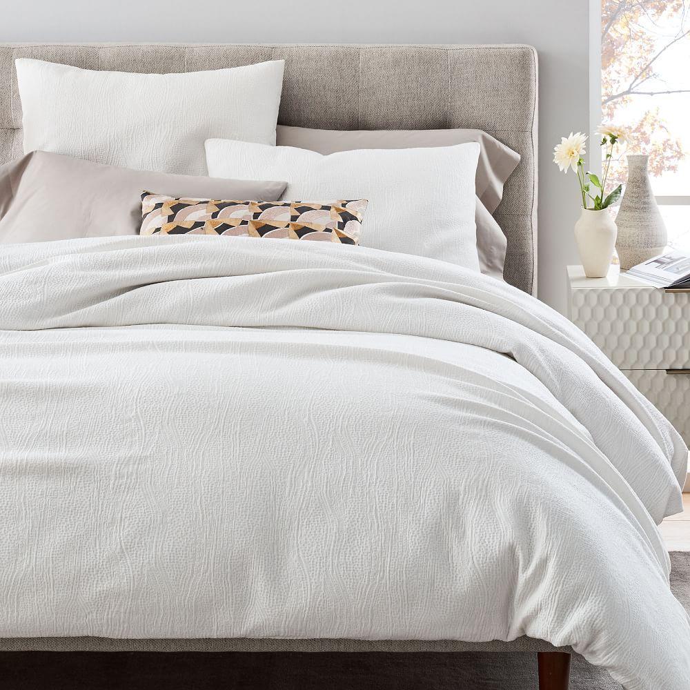 TENCEL™ Cotton Matelasse Quilt Cover + Pillowcases - Stone White