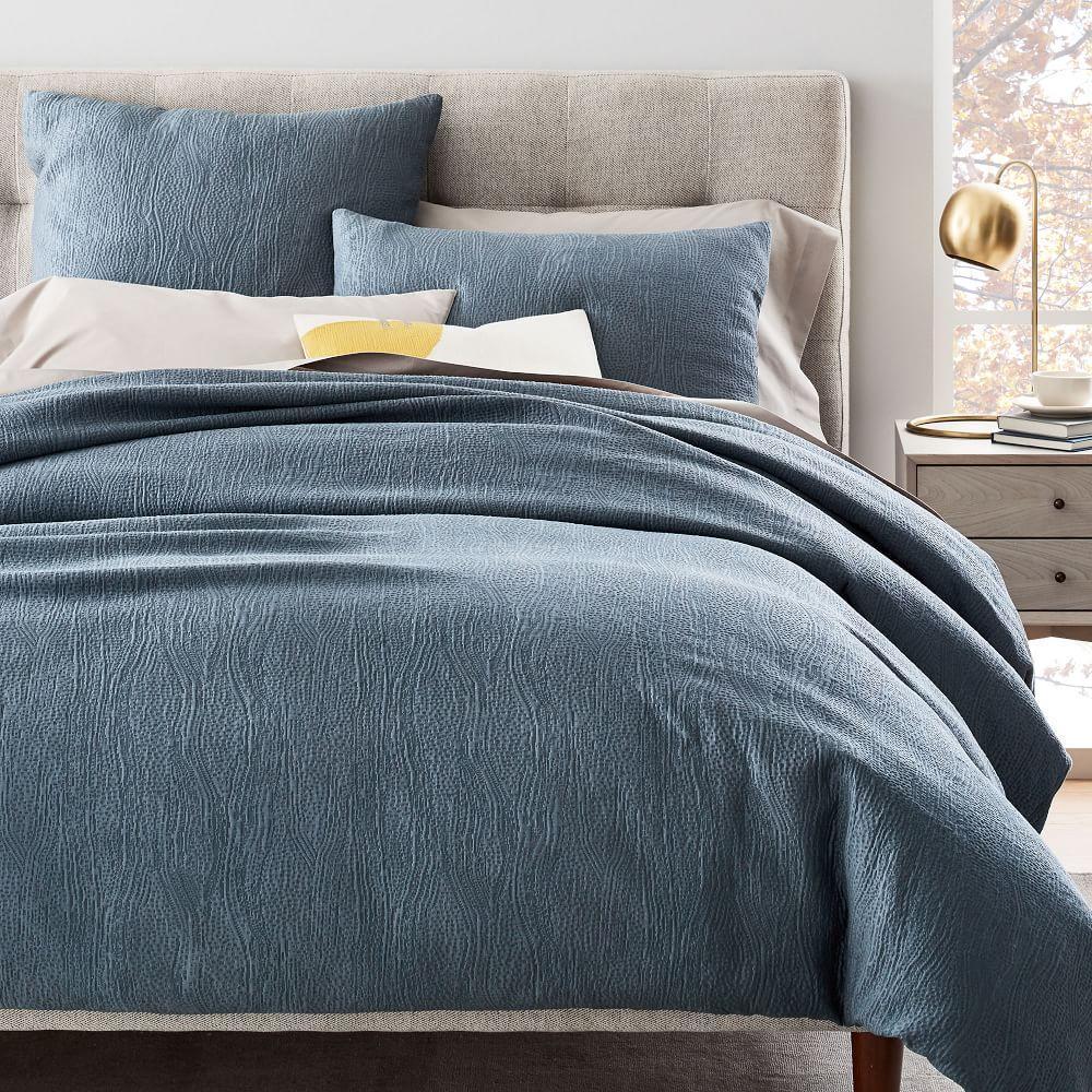 TENCEL™ Cotton Matelasse Quilt Cover + Pillowcases - Stormy Blue