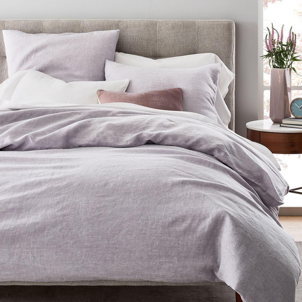 Belgian Flax Linen Melange Quilt Cover + Pillowcases - Pale Lilac