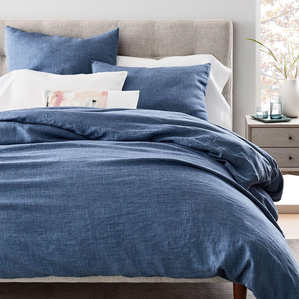 Belgian Flax Linen Fibre Dyed Quilt Cover + Pillowcases - Indigo