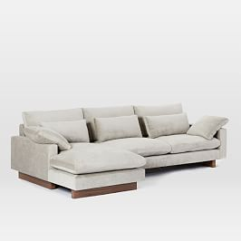 Harmony 2-Piece Chaise Sectional - Light Taupe (Distressed Velvet)