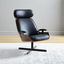 Malcolm Bentwood Leather Swivel Chair