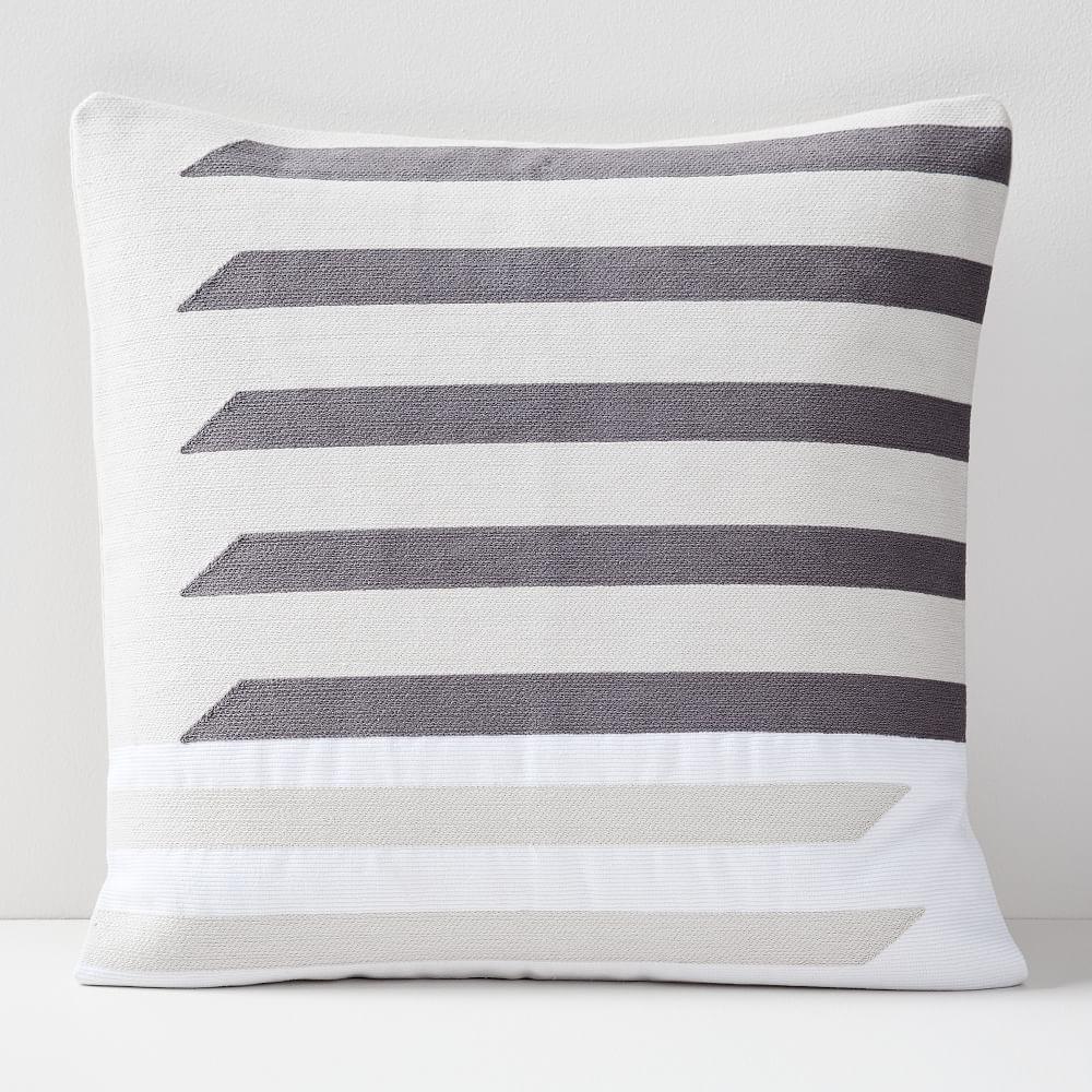 Crewel Shadow Bars Cushion Covers