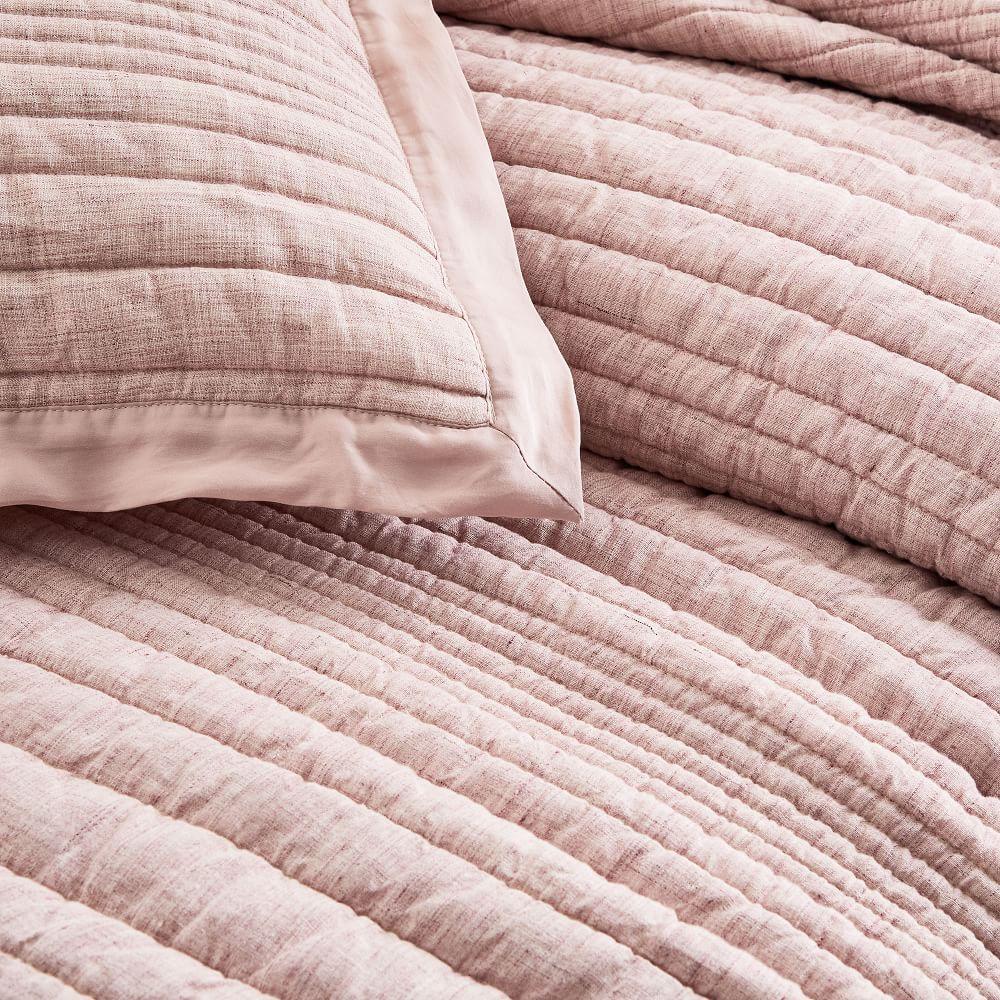 Belgian Flax Linen Linework Coverlet + Pillowcases - Vintage Rose