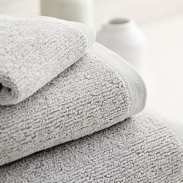 Organic Textured Towels - Grey Sky