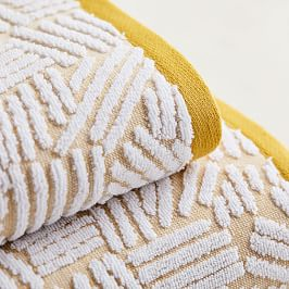Organic Dashed Lines Sculpted Towels - Dark Horseradish