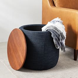 Upholstered Storage Base Ottoman - Small