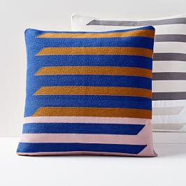 Crewel Shadow Bars Cushion Covers