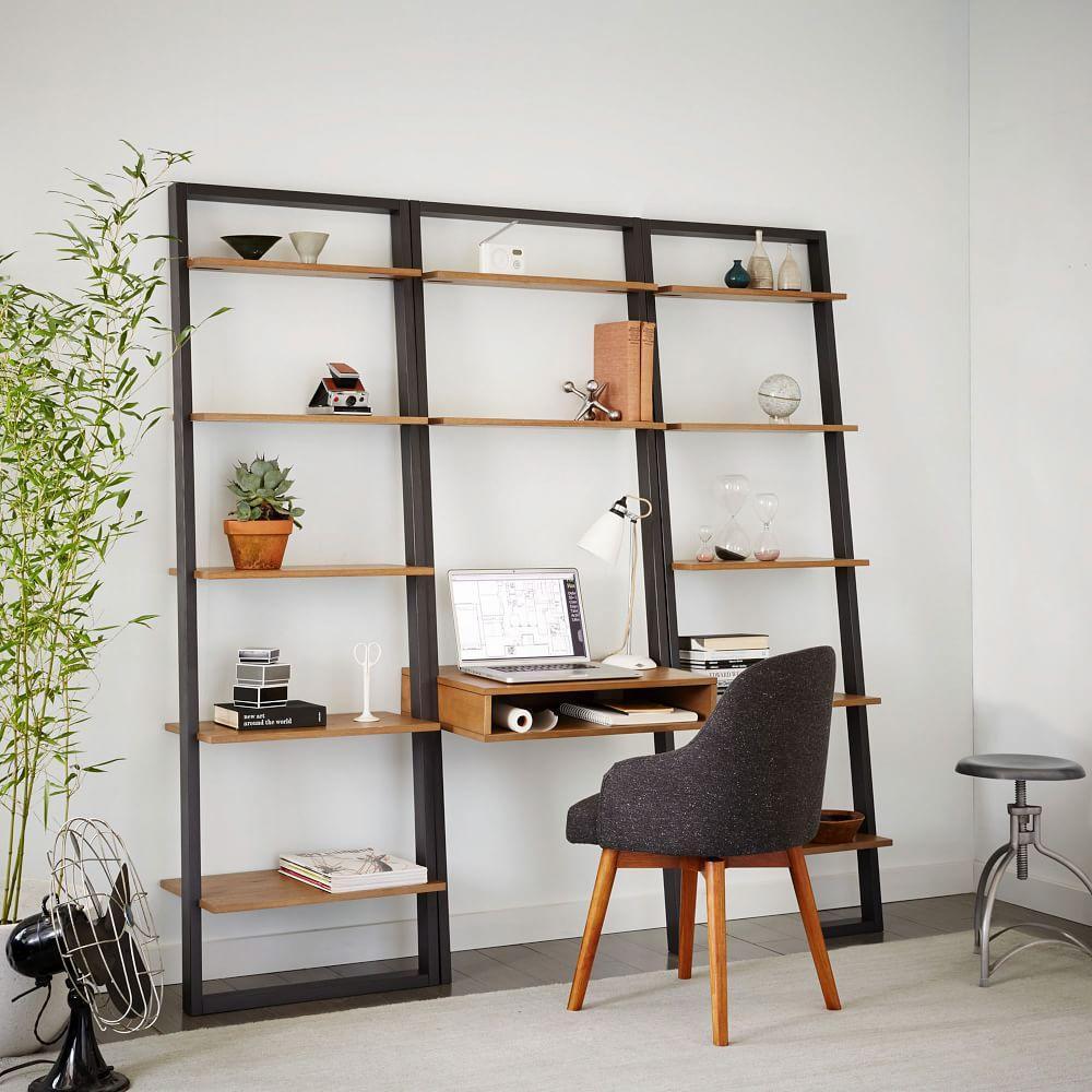 sale retailer f1370 f06d6 Ladder Shelf Desk + Wide Bookshelf Set (Sand/Stone)