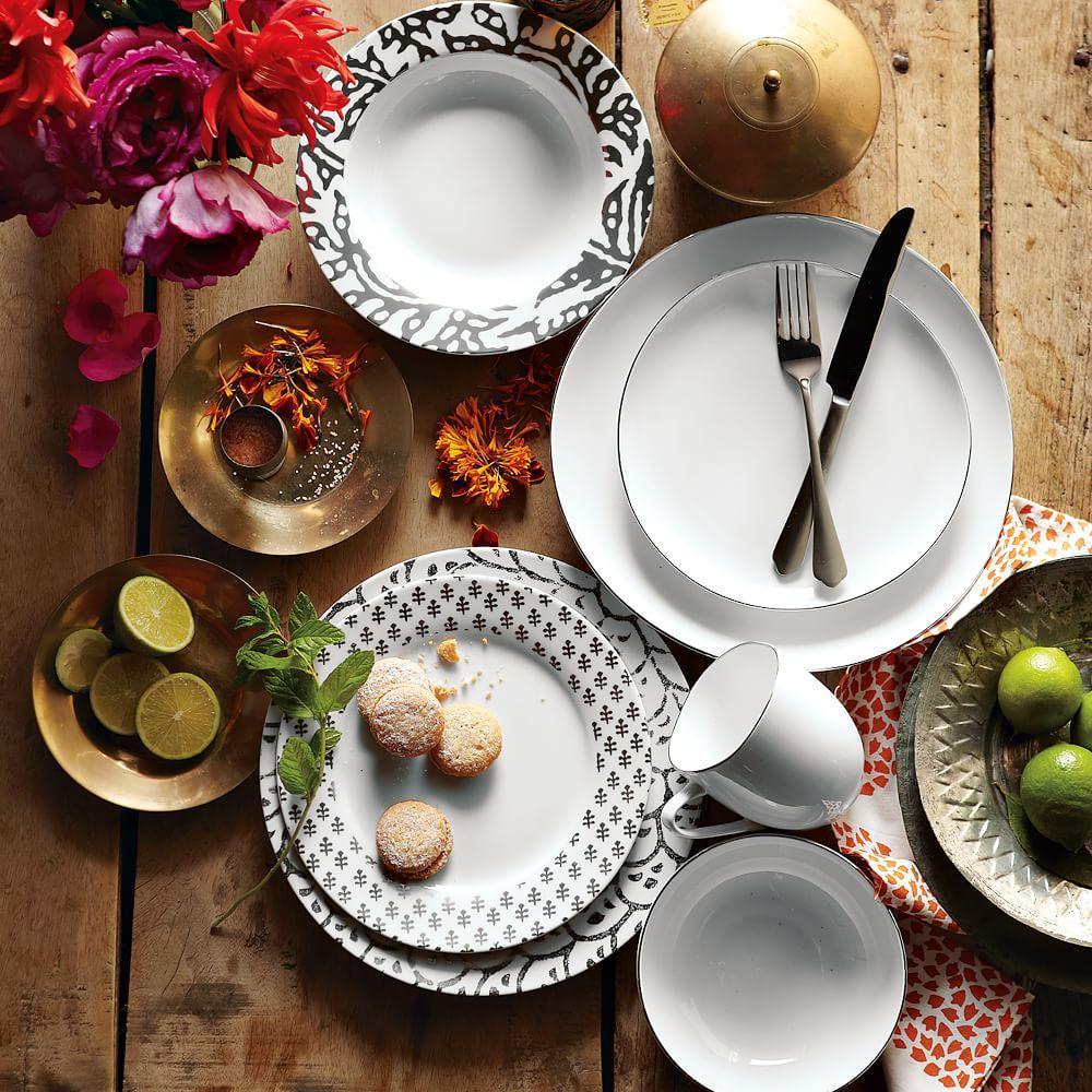 Organic Shaped Dinnerware - Metallic Rimmed