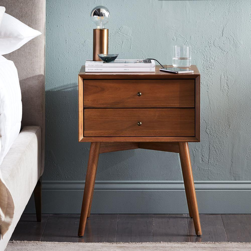 Japanese End Table Wood Accent Stand Modern Lamp Furniture: Mid-Century Bedside Table - Acorn