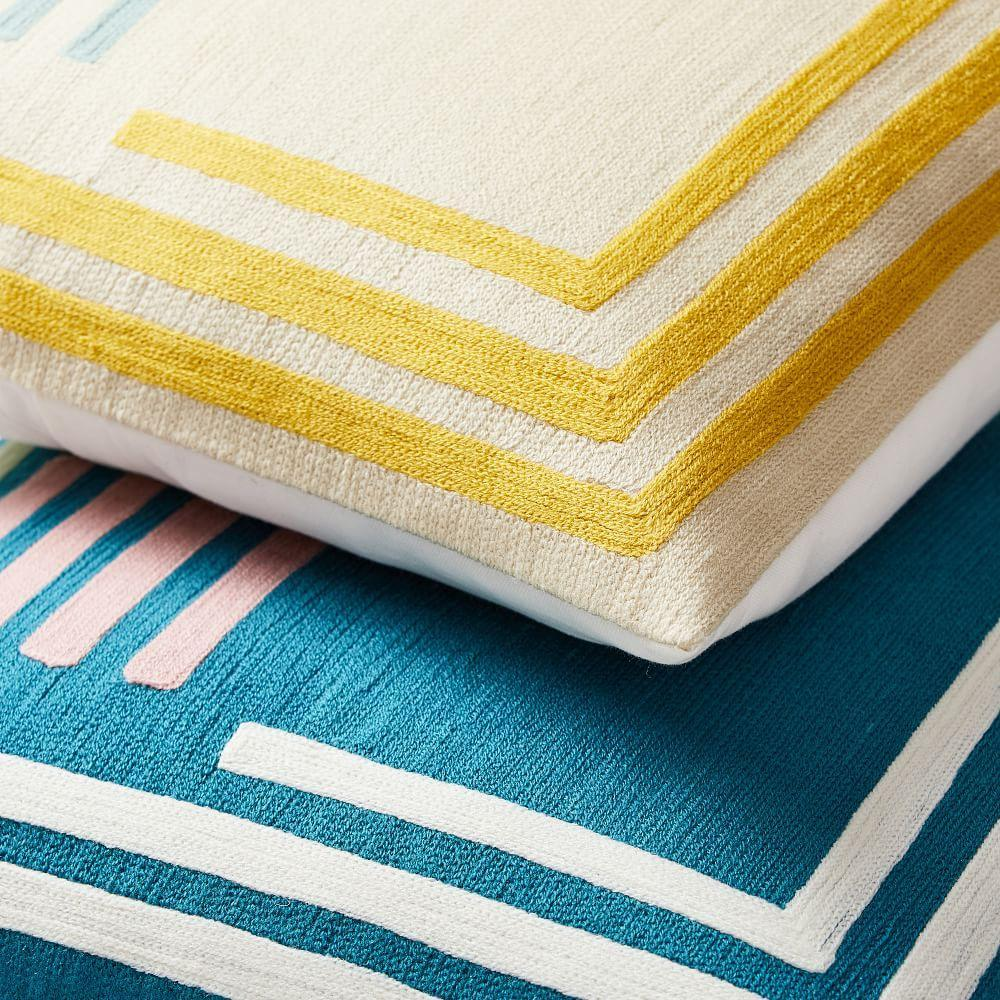 Crewel Concentric Angles Cushion Covers