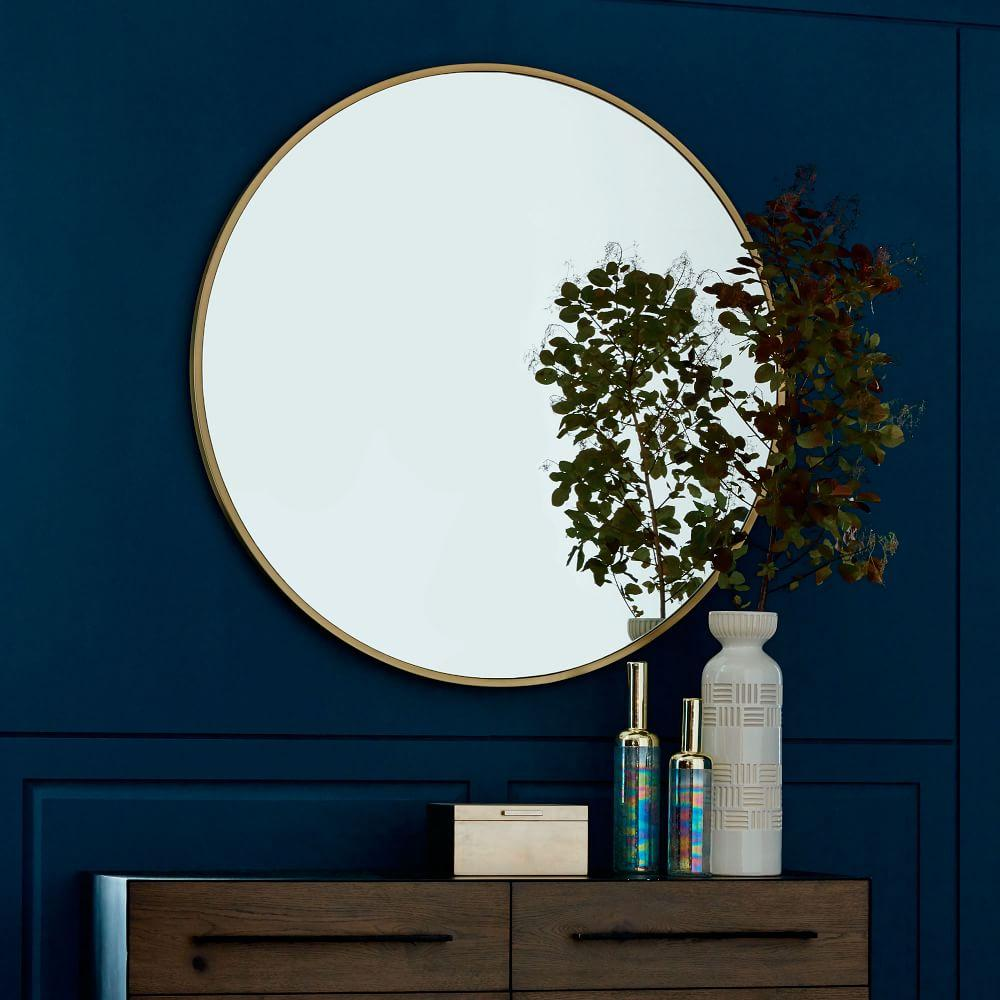 Metal Framed 122 Cm Round Mirror West Elm Australia