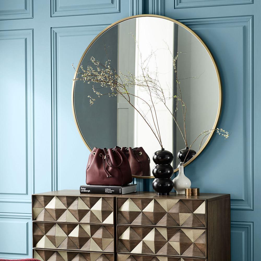 Metal Framed 122 cm Round Mirror