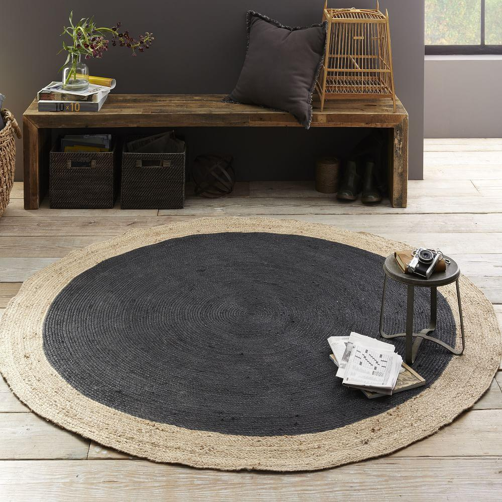Round Rugs For Living Room Bordered Round Jute Rug Slate West Elm Au