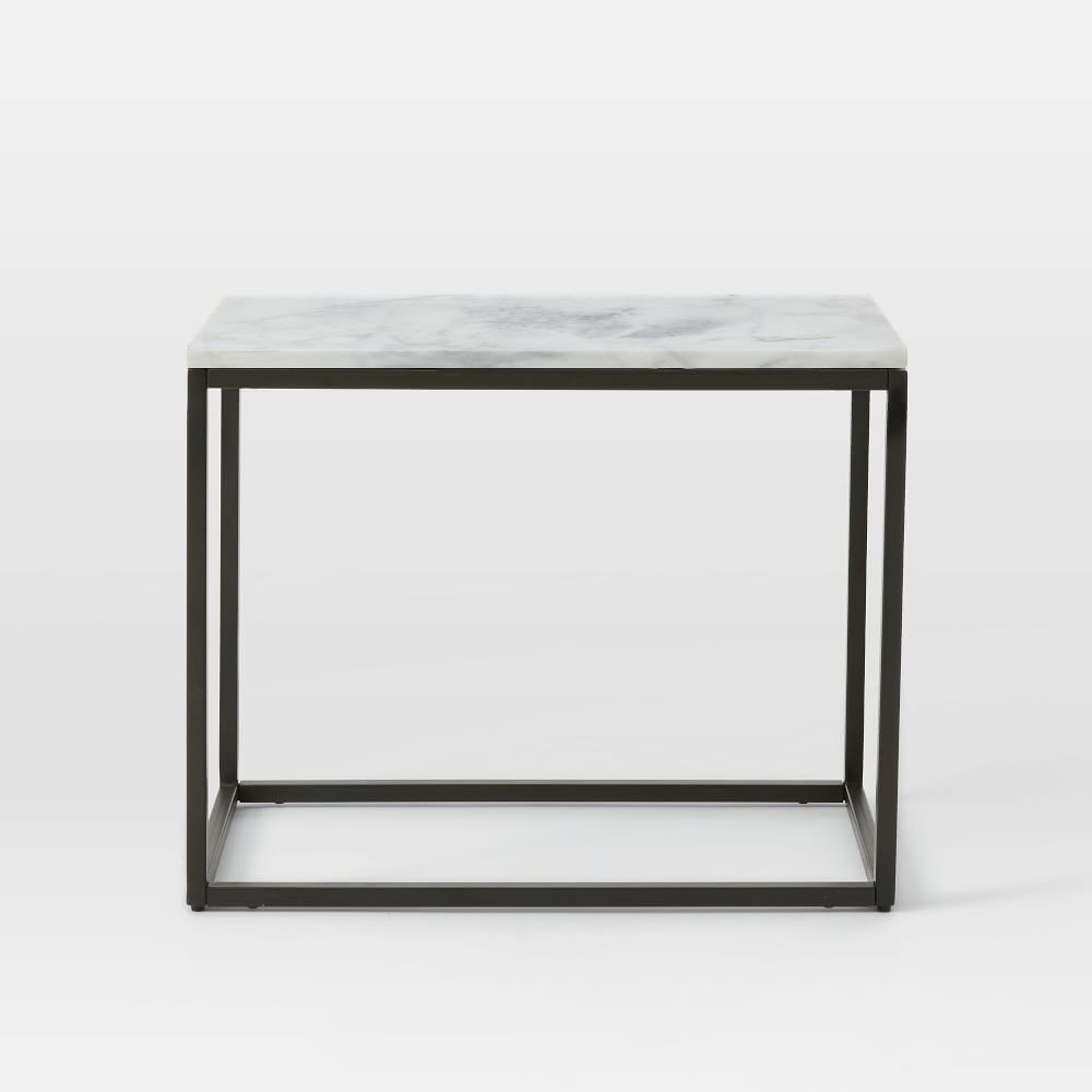 Box Frame Narrow Side Table Marble West Elm AU