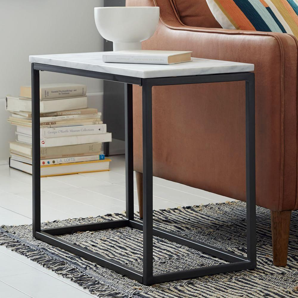 Box frame narrow side table marble west elm au Side and coffee tables