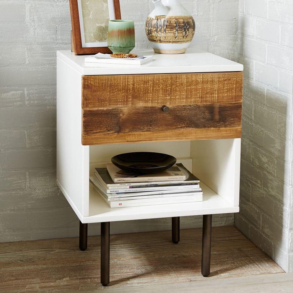 reclaimed wood lacquer bedside table
