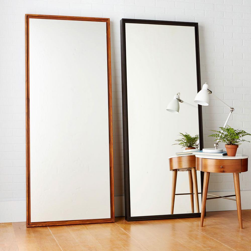 Floating wood floor mirror west elm au for Full length bedroom mirror