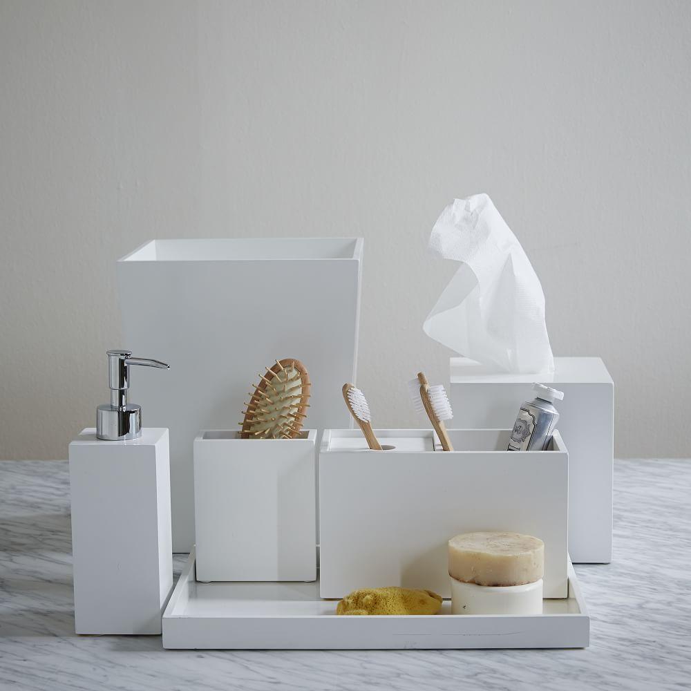 Lacquer bath accessories white for White toilet accessories