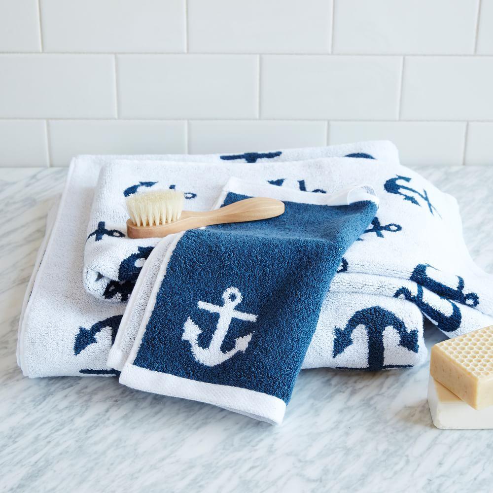 Nautical Guest Towels: Anchor Jacquard Towel