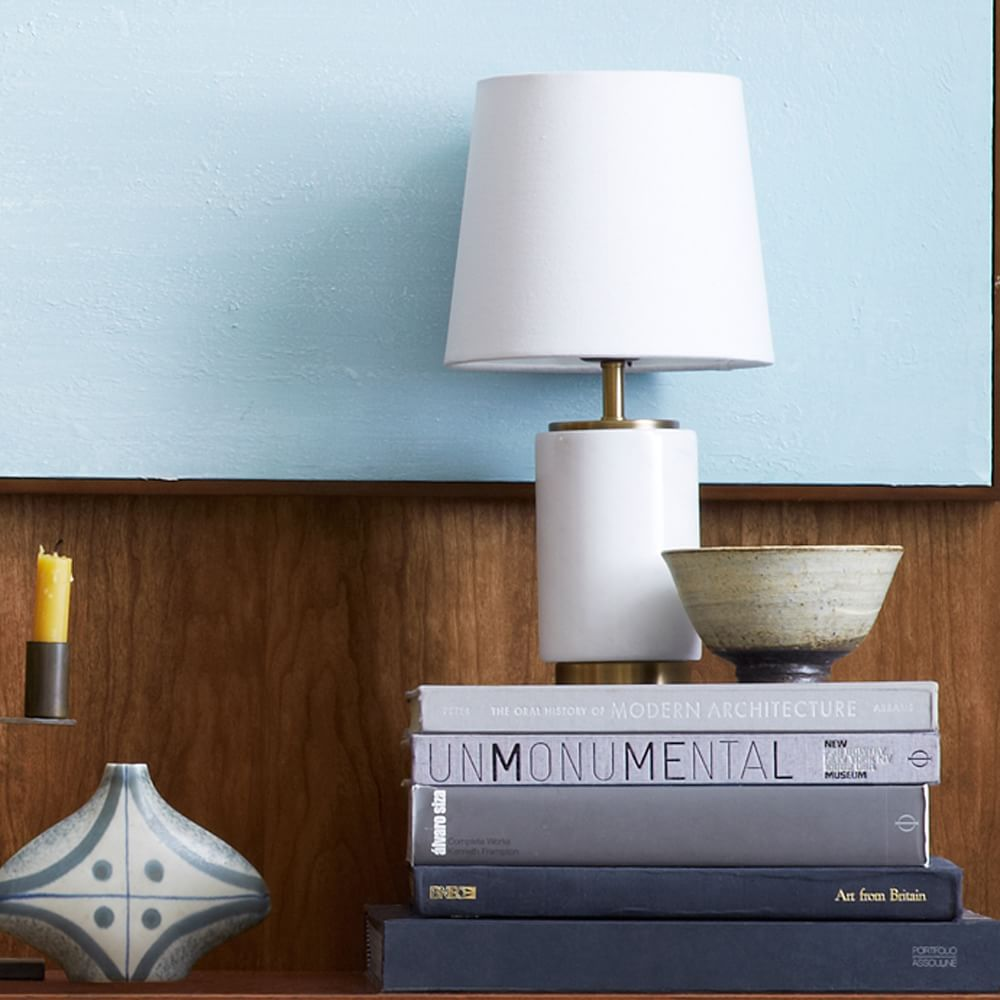 Small Pillar Table Lamp - Marble | west elm Australia