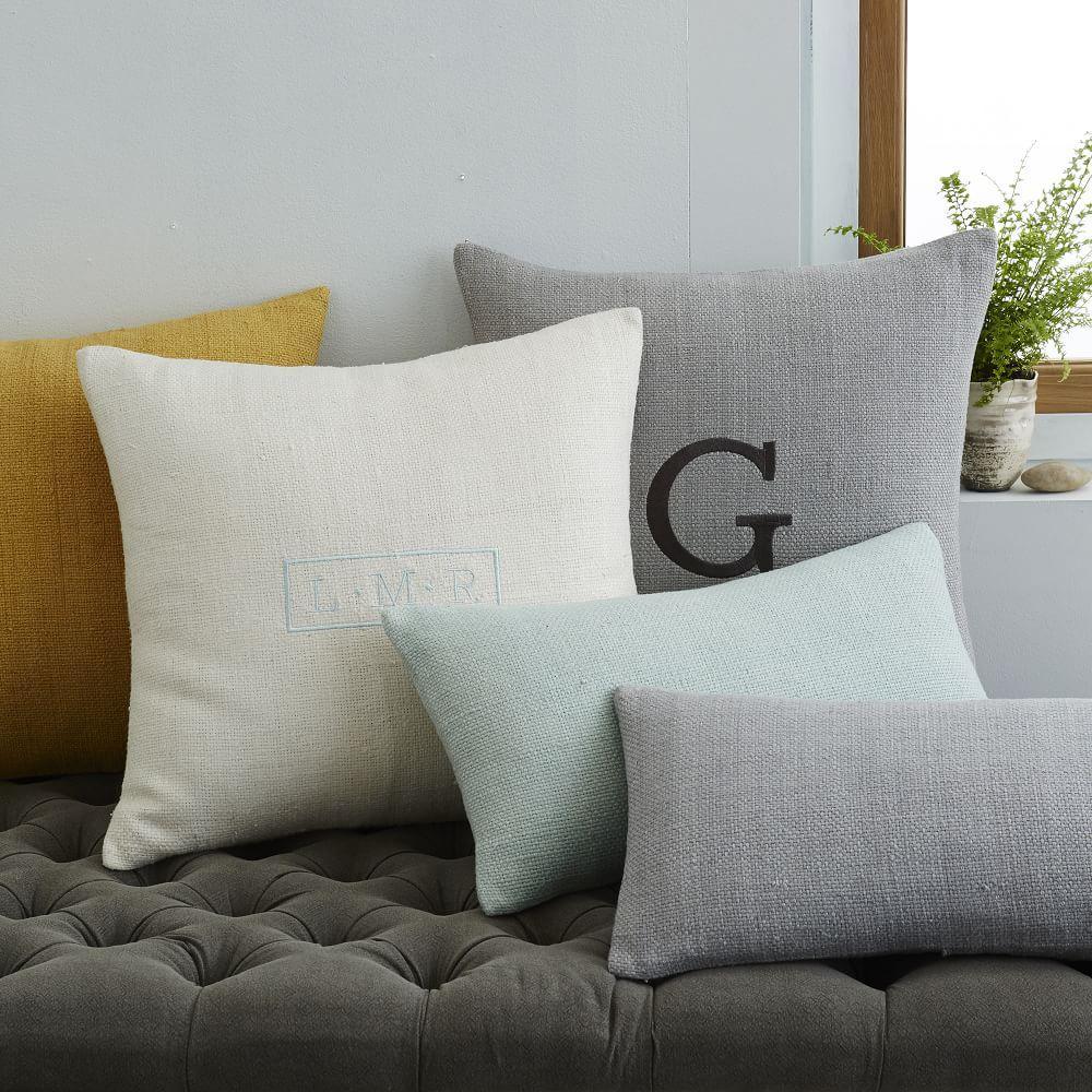 Silk Hand Loomed Lumbar Cushion Cover Platinum West