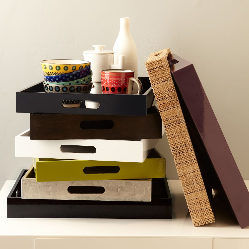 Lacquer Storage Coffee Table West Elm: Small Rectangle Lacquer Trays