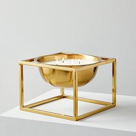 Gilded Basin Candle on Stand