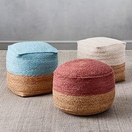Jute Colourblock Poufs