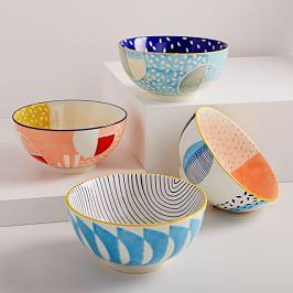Hand-Painted Pattern Pop Bowls - Large