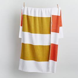 Organic Bold Stripe Reversible Beach Towel - Citrus Yellow